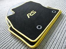 $$$ Velours Fußmatten passend für Ford Focus II + RS LOGO GELB + ANGEBOT + NEU$$