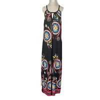 Caroline Morgan Womens Black Floral Halter Neck Long Maxi Dress Size 16