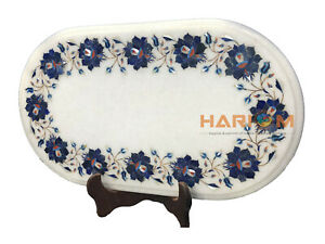 "12""x16'' Oval Marble Coffee Table Top Lapis Mosaic Floral Inlay Home Decors W090"