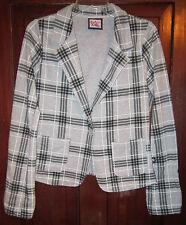 L.A. Kitty Juniors L M Knit Jacket Blazer Plaid One Button Cotton Gray Black Top