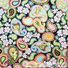 BonEful Fabric FQ Cotton Quilt VTG Gray Rainbow Paisley Flower Leaf Shabby Chic