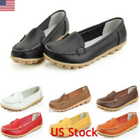Womens Leather Loafers Driving Peas Walking Moccasin Flat Casual Footwear Shoes