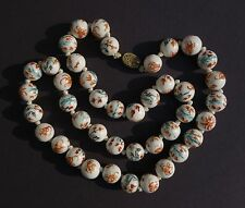 "Vtg CHINESE PORCELAIN Beads/NECKLACE Famille Verte BIRDS 27"" Silver Filigree Cat"