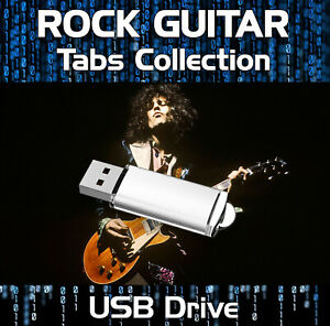 Over 570 Rock Guitar Tabs Tablature Lessons Software USB - Guitar Pro Format