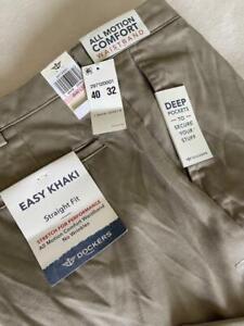 "DOCKERS Easy Khaki Straight Fit Comfort Waistband Men's Pants 40 X 32"" NWT $72"