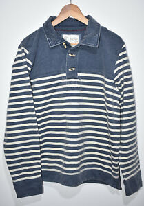 Fat Face Striped Long Sleeve Blue Light Stone Over Shirt Mens UK M Rugby Style