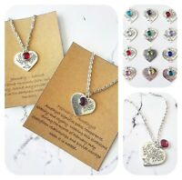 Silver tree of life love heart birthstone charm chain pendant necklace with card