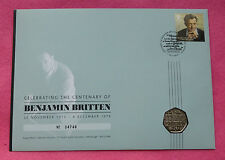 2013 BENJAMIN BRITTEN 100TH ANNIVERSARY  50P BU COIN FIRST DAY COVER - NEW