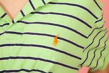 Vintage Citron Vert & Noir à rayures RALPH LAUREN Polo T-shirt M