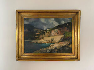 Post Impressionist Oil Painting of French coastline