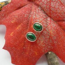 Malachit, grün, oval, schlicht, Ohrringe, Ohrstecker, 925 Sterling Silber, neu