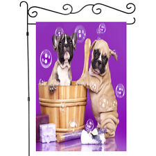 Two Funny Baby Dogs Taking A Bath Garden Flag House Banner Flag Yard Flag