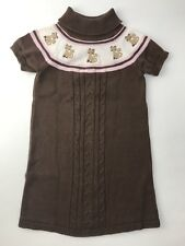 Gymboree Kitty Glamour Sweater Dress Brown Turtleneck Pink Cats Girls Size 6