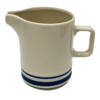 MCM Sango Orbit Stoneware Creamer Pitcher Blue Ivory Striped Japan Vintage