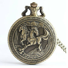 Vintage Horse Retro Quartz Analog Pocket Watch Necklace Men Women Xmas Gift