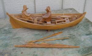 Vintage Pine Folk Art Fishermen & Boat, Lucien Bourgault Quebec Canada