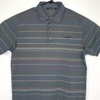 Travis Mathew Mens Golf Polo Shirt Size XL Short Sleeve Striped Pima Cotton Gray