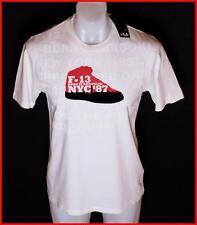 BNWT AUTHENTIC MEN'S Fila camiseta Medio Nuevo Raro F-13 NYC Brooklyn Blanco