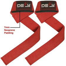 DEFY WEIGHT LIFTING BODYBUILDING WRIST BAR SUPPORT COTTON STRAPS RED PADDED