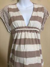 Motherhood Maternity Medium M Knit Top Shirt Taupe Striped Short Sleeve Sweater