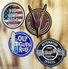 4er Set Oldschool Aufkleber Old Guys Rule V8 - Surfer - USA - Kult Sticker Retro