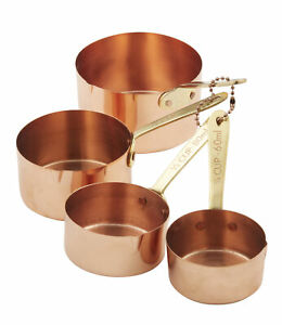Academy Copper Plated Measuring Cups w Brass Handles 4pce Brass/Copper 1/4 Cu...