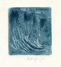 Sail Ship, Sea and Music. Ex libris Etching by Angelo Arrigoni, Italy