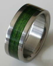 Titanium Ring With Green Dymond Wood Inlay - FREE Ring Box