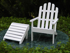 Miniature Dollhouse FAIRY GARDEN Furniture ~ White Wood Adirondack Chair  ~ NEW