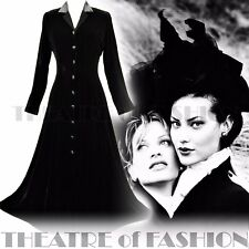 VINTAGE LAURA ASHLEY DRESS COAT 8 6 SILK VELVET 40s RIDING VICTORIAN MISTRESS