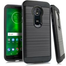"For Motorola Moto E5 XT1920DL 5.7"" Metallic Slim Brush Hybrid Case Phone Cover"