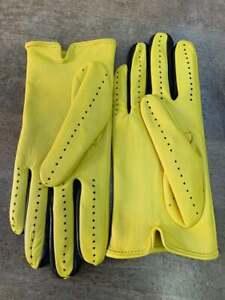 Handmade Green & Black Genuine Lambskin Napa Leather Driving Gloves for Women's