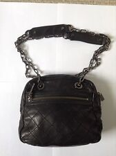 Tory Burch Small Black Quilted Leather Silver Chain Shoulder Strap Handbag READ