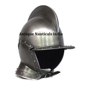 Medieval Burgonet Helmet LARP Armor Silver