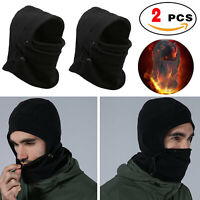 2Pcs Winter Warm Fleece Balaclava Full Neck Face Mask Thermal Motorcycle Ski Hat