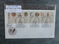1996 ISRAEL 75th HEBREW WRITERS ASSOC. STRIP 7 STAMPS W/- TAB FIRST DAY COVER