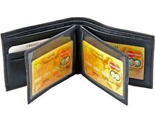 Mens Genuine Leather Bifold Wallet ID Credit Card Holder W/ 2 Center Flap Window
