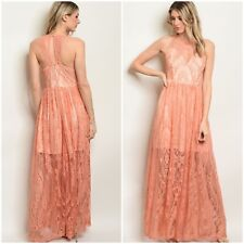 Soieblu Blush Peach Lace High Neck Long Maxi Dress Size Large