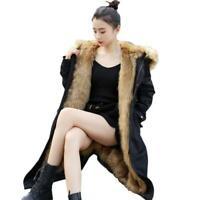 Women's Warm Faux Fur Lined Hooded Snow Parkas Outwear Long Winter Coats M-5XL L