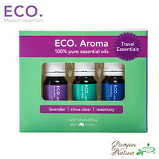 Eco Aroma Essential Oils Travel Trio - Lavender, Sinus Clear & Rosemary 3 x 10ml