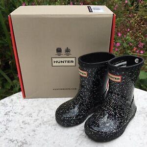 Genuine HUNTER Kids Girls Classic Black Glitter Wellies Boots Size UK 4 (EU 21)