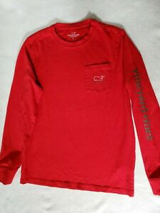 Vineyard Vines Boys Red Long Sleeve Tee Size 16 Excellent Used Condition
