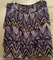 Fashion Bug Womens Elastic Waist Multi Color Design Layer Skirt Size 1X