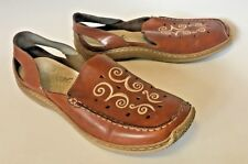 RIEKER Antistress Closed Toe Slingback Brown Leather Embroidered Sandals EU40 UW