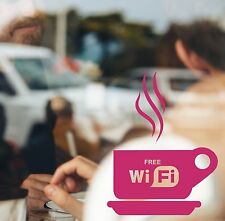 2x COFFEE & WIFI SIGN STICKERS FOR CAFE BAR CLUB PUB GLASS OR WALLS 24 COLOURS