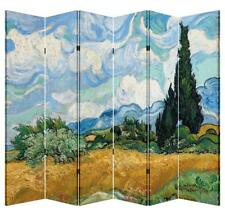 6 Panel Folding Screen Canvas Privacy Partition Divider- Wheatfield with Cypress