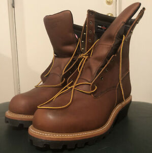MENS RED WING 219 LOGGERMAX LOGGER BROWN LEATHER LACE UP WORK BOOTS 12