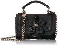 NWT Guess Sibyl Mini Crossbody Bag Flap, Black Flower Handbag