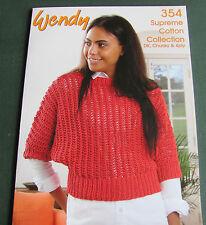 Wendy suprême coton collection book 354. designs à grosses, dk et 4 plis en coton