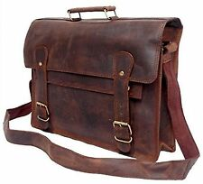 FeatherTouch Men's Leather Briefcase Laptop Macbook Bag 17X12X5 Inches Brown